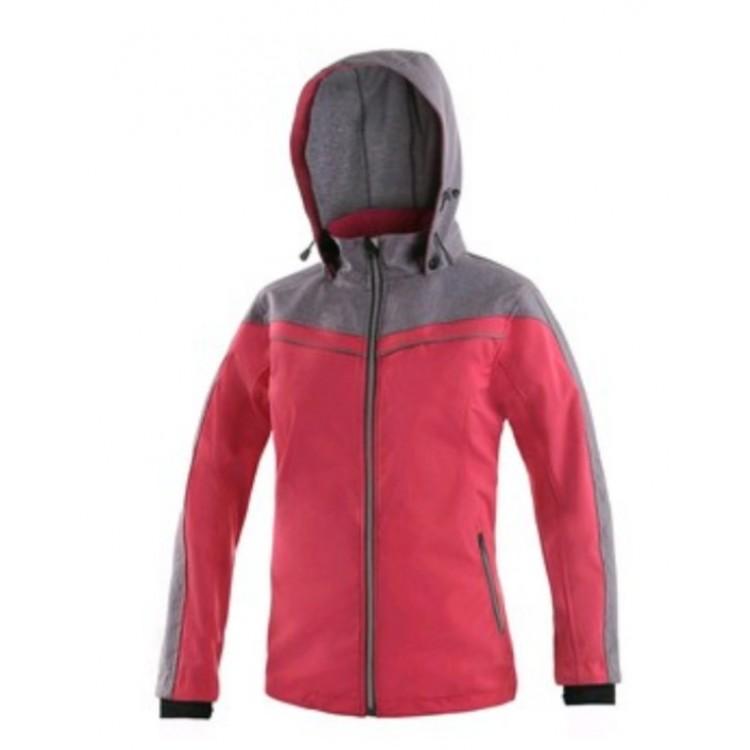 Dámska softshellová bunda CXS MONROE, červeno-sivá