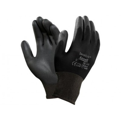 Potiahnuté rukavice ANSELL SENSILITE, čierne