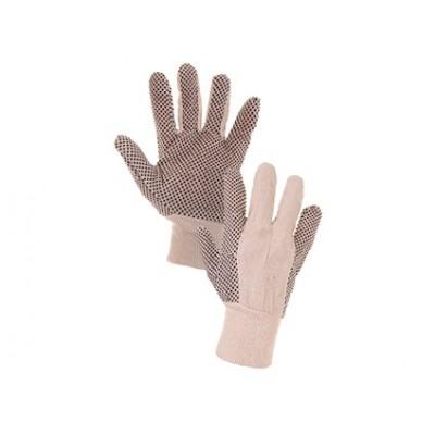 Textilné rukavice GABO, s PVC terčíkmi, biele, veľ. 10