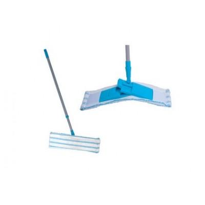 Plochý mop CLEAN ACTION, bielo-modrý