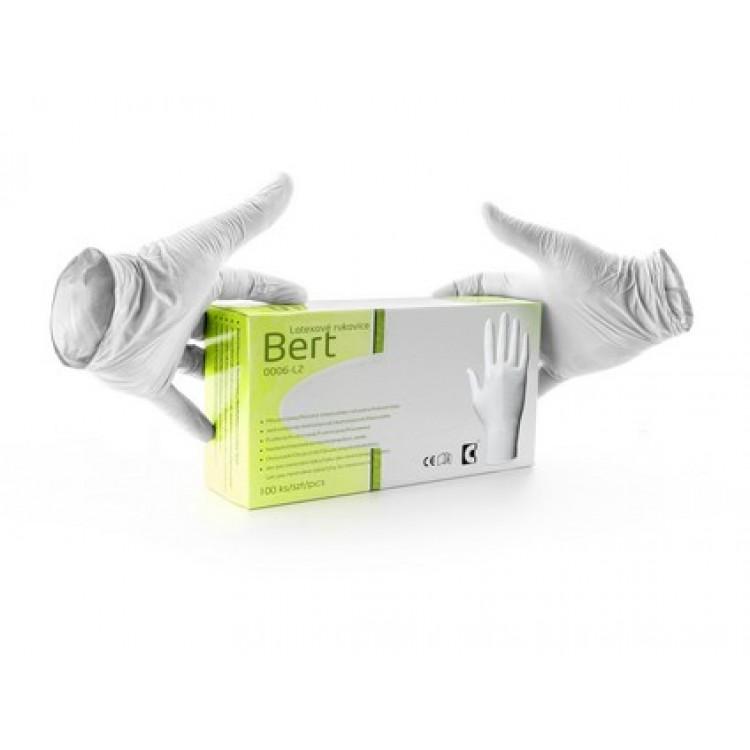 Jednorazové rukavice BERT, latexové *VYPREDANÉ*
