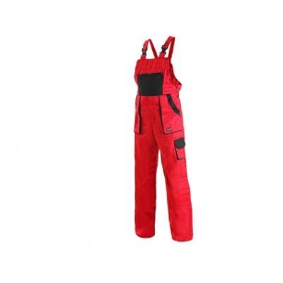 Dámske montérkové nohavice s náprsenkou CXS luxy SABINA, červeno-čierne