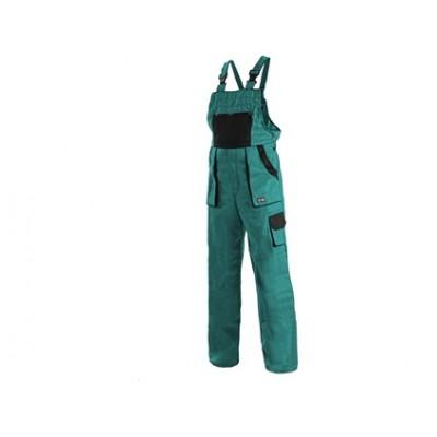 Dámske montérkové nohavice s náprsenkou CXS luxy SABINA, zeleno-čierne