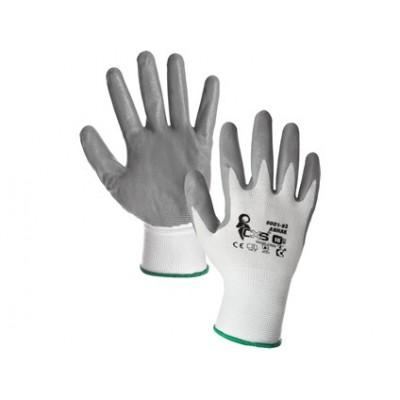 Potiahnuté rukavice ABRAK, bielo-šedé